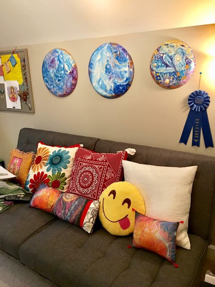 Comfy sofa in my art studio