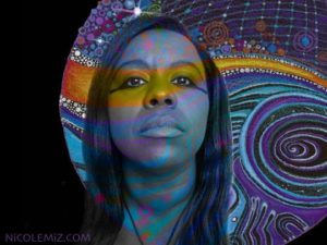 Nicole Mizoguchi Self Portrait (With Spiral Galaxy art)