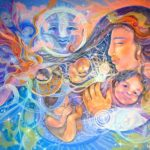 An angel is born - Visionary art by Nicole Mizoguchi - A beautiful child is embraced by his loving mother.