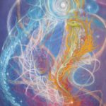 Awakening kundalini - Visionary art by Nicole Mizoguchi - Spiritual energy comes alive in the form of a cobra or snake of light, preparing to strike and awaken the sleeping person.