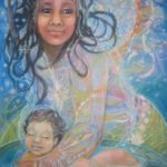Bathing in heaven's light - Visionary art by Nicole Mizoguchi - Sacred light from heaven blesses the soul of the mother and child.