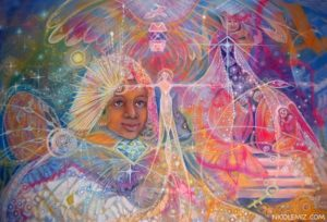 Beyond the veil - Visionary art by Nicole Mizoguchi - A soul is amazed to see into the spirit world where the mysteries of life are revealed.