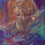 Awaken daughters - Visionary art by Nicole Mizoguchi - Women gather together to share their gifts in the world.