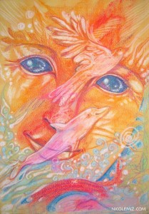 Joy and freedom - Visionary art by Nicole Mizoguchi - A bright smiling face with dolphins and birds.