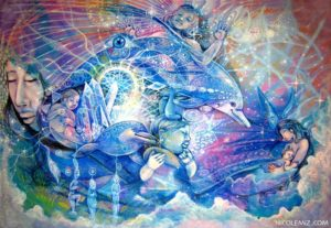 Paradise - Visionary art by Nicole Mizoguchi - A heavenly place filled with the bliss of dolphins and babies playing, mother and child embracing.